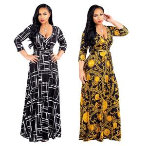 2018 Ladies private label printed plus size long sleeve maxi dresses