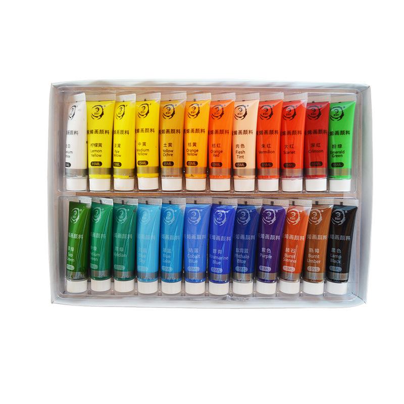 Couleurs vives professionnelles peinture acrylique Non toxique peinture acrylique bon marché avec pinceaux
