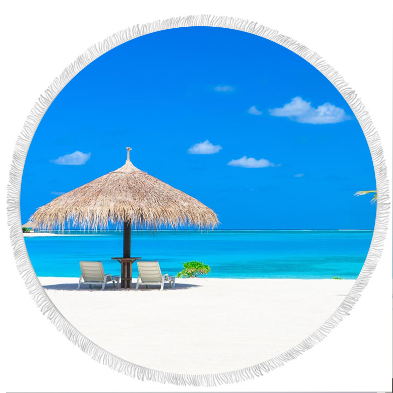 Wholesale microfiber gym custom beach round cotton fabric bath printed pattern towel