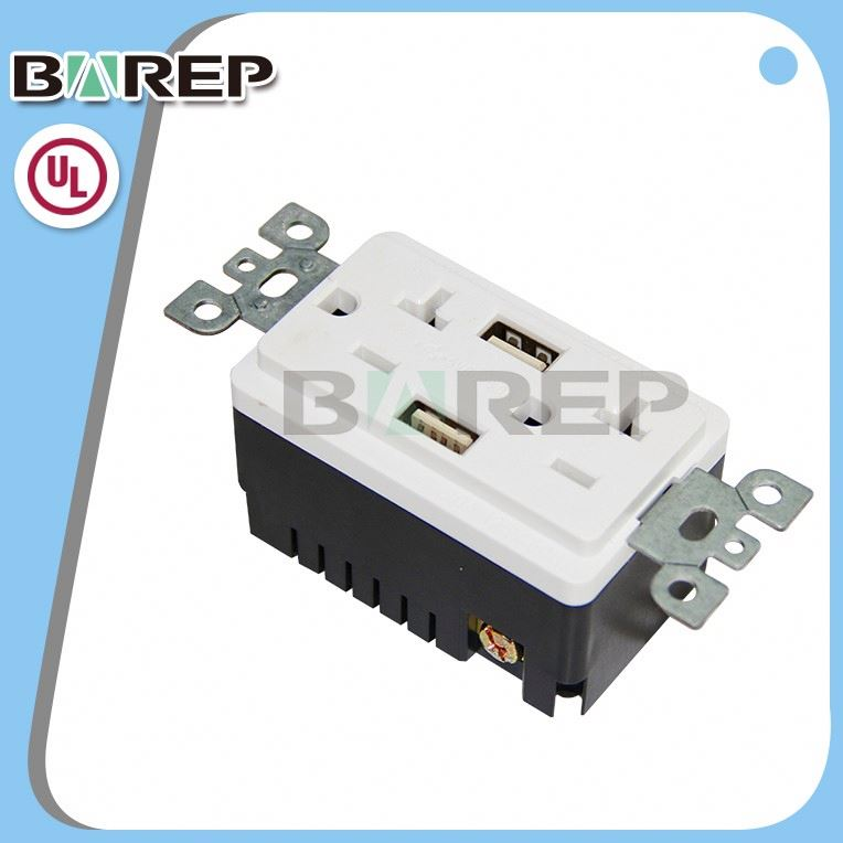 TR-BAS20-2USB UL approved GFCI outlet receptacle 15 amp socket
