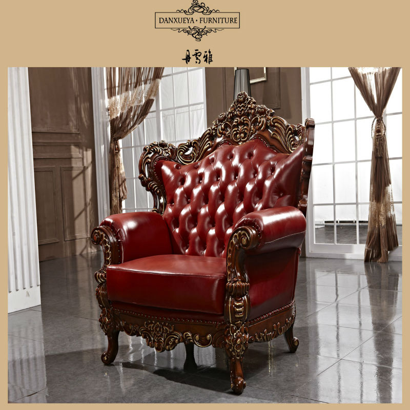 Luxury wooden hand carved one seat red leather sofa