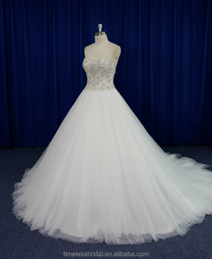 Strapless embroidered bodice puffy skirt saudi arabian wedding dress real sample