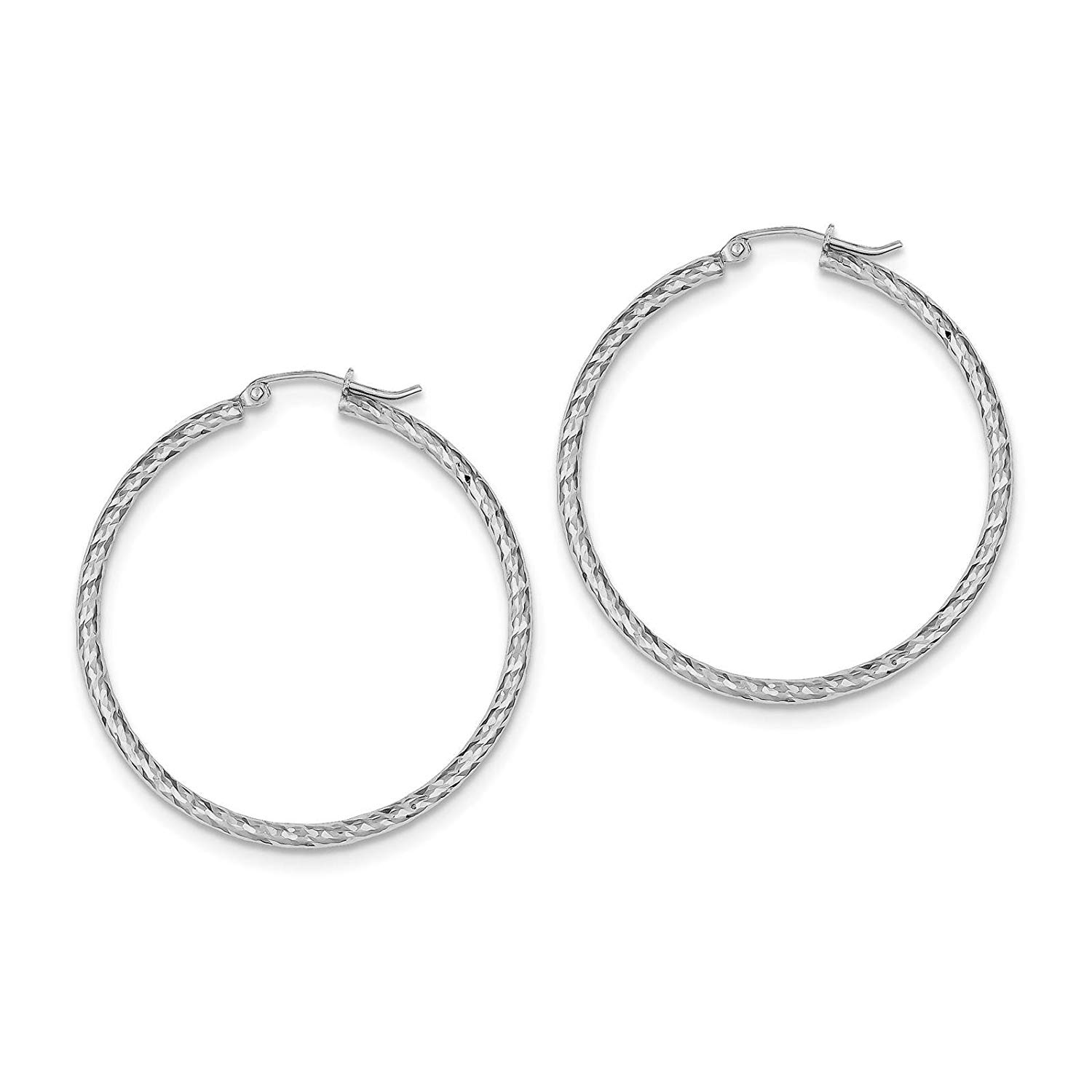 .925 Sterling Silver Rhodium-plated Polished & Diamond-cut Round Hoop Earrings 2mm x 39mm