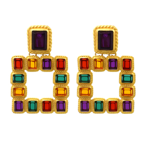 New Design Vintage Crystal Drop Dangle Earrings For Women Bohemia Square Statement Big Earrings Jewelry
