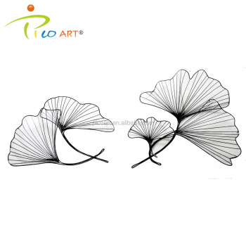 3D Hollow Metal Wall Art Sculpture Concise Iron Wire Lotus Leaf Wall Decor  Sculpture