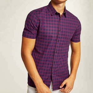 Clothing wholesale navy and purple gingham short sleeve shirt men