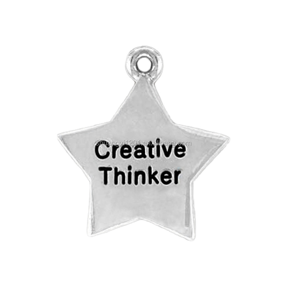 Jewelry Finding Custom Engraved Creative Thinker Star Shape Pendants & Charms