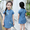Factory price Chinese style denim fabric cheongsam with embroider jeans dress