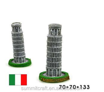Ontwerper Toren Van Pisa.Italia Scheve Toren Van Pisa Hars Beroemde Gebouw Miniatuur Italia
