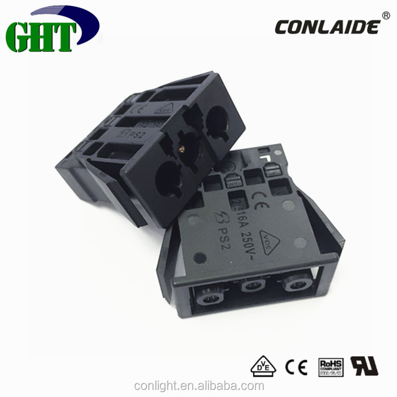 VDE CE UL Panel Mount 3 Pin Male Connector With 250v 16A