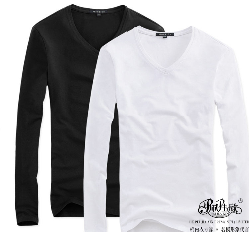 Peijiaxin Fashion Design Round collar V-neck Style sleeve Men Long Sleeve Wholesale Blank T shirts