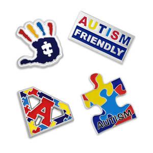 4580019707c Autism Awareness Autistic Puzzle Ribbon Metal Enamel Lapel Pin Badge