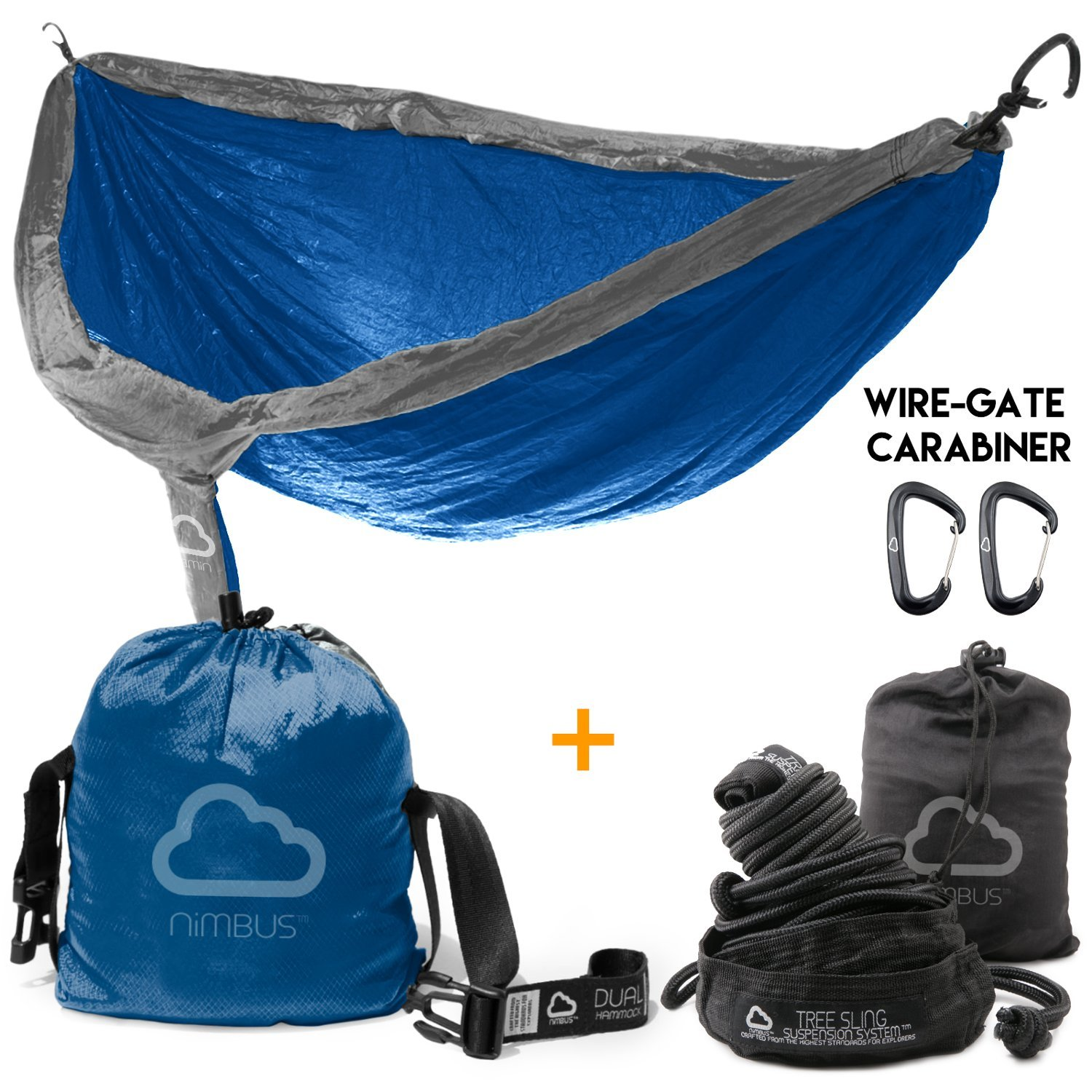 BUNDLE SET FLASH SALE! Double Outdoor Camping Nylon Hammock with Suspension Kit & Premium Carabiner [Complete Hammock Set] - Designed in USA | Top Rated | Built to Last | by Nimbus Hammock