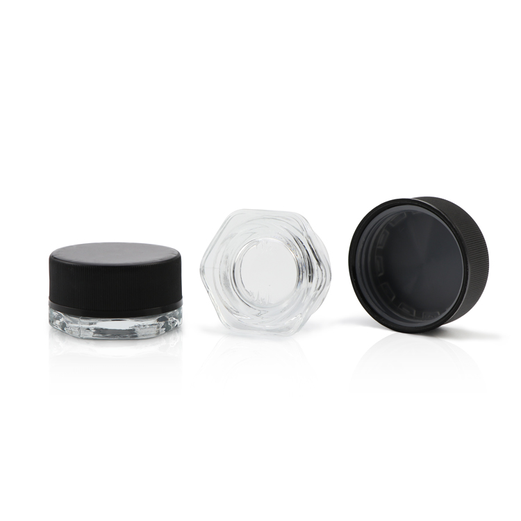 Low Profile 3 ml 5 ml 7 ml clear kind slip proof deksel CBD wax olie concentraat glas containers jar met kindveilige dop