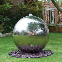European style decoration stainless steel ball water fountain outdoor garden hollow ball fountain