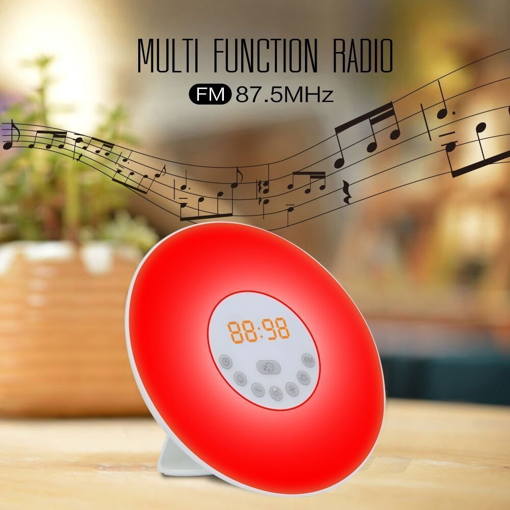 WB HX6638 P RGB color changing USB charge Sunrise Simulation wake up light digital alarm clock with FM radio