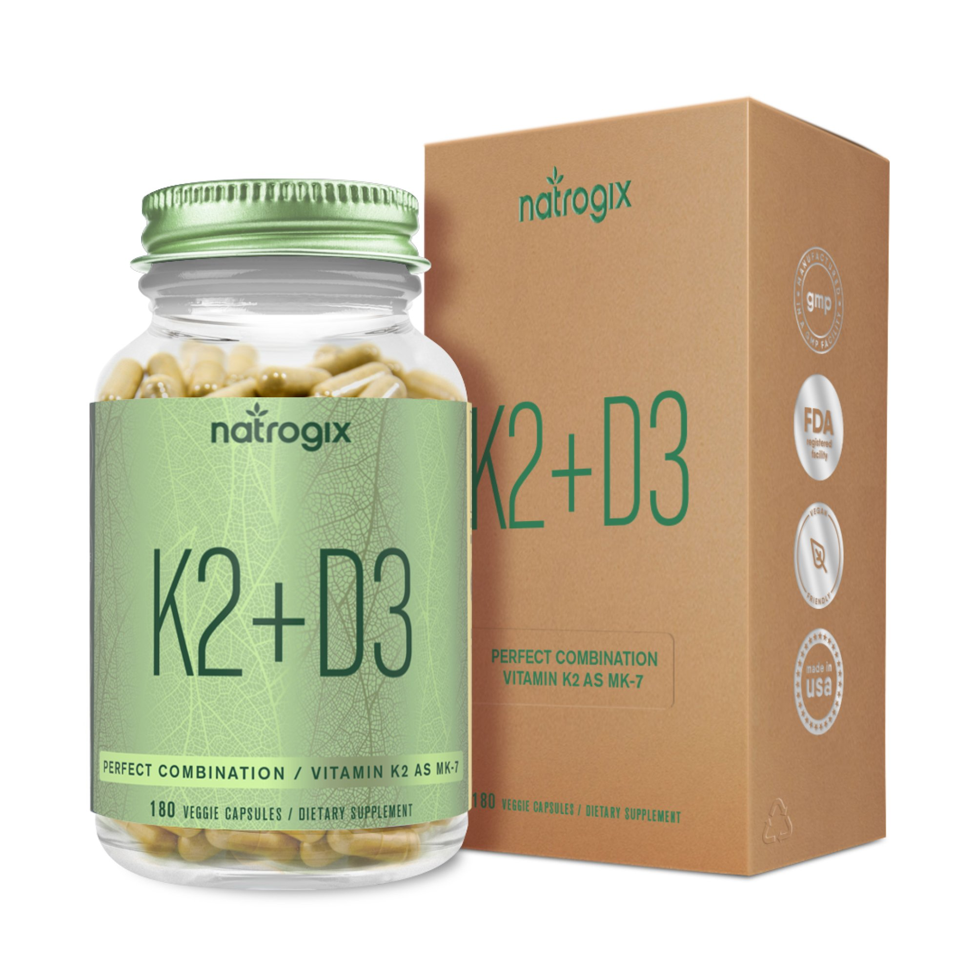 Natrogix Vitamin K2 (MK-7) with D3 Supplement - Maximum Strength Bone and Heart Health Formula - 5000 IU Vitamin D3 & 120 mcg Vitamin K2 MK7-180 Vegetable Capsules