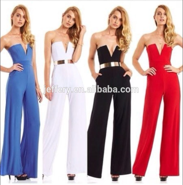 NEW STYLE spaghetti strap one piece jumpsuits with long wide leg pants for women A471