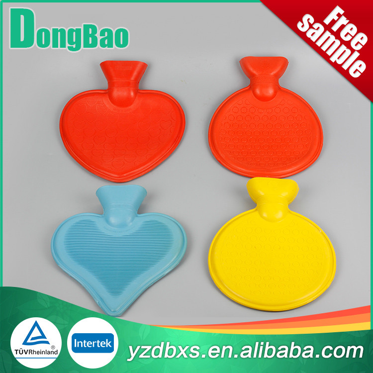 600ml/800ml red natural rubber hot water bottle heart shaped