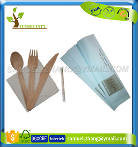 Biodegradable Disposable Wood Cutlery Set Knife Fork Spoon Napkin with Custom LOGO Print