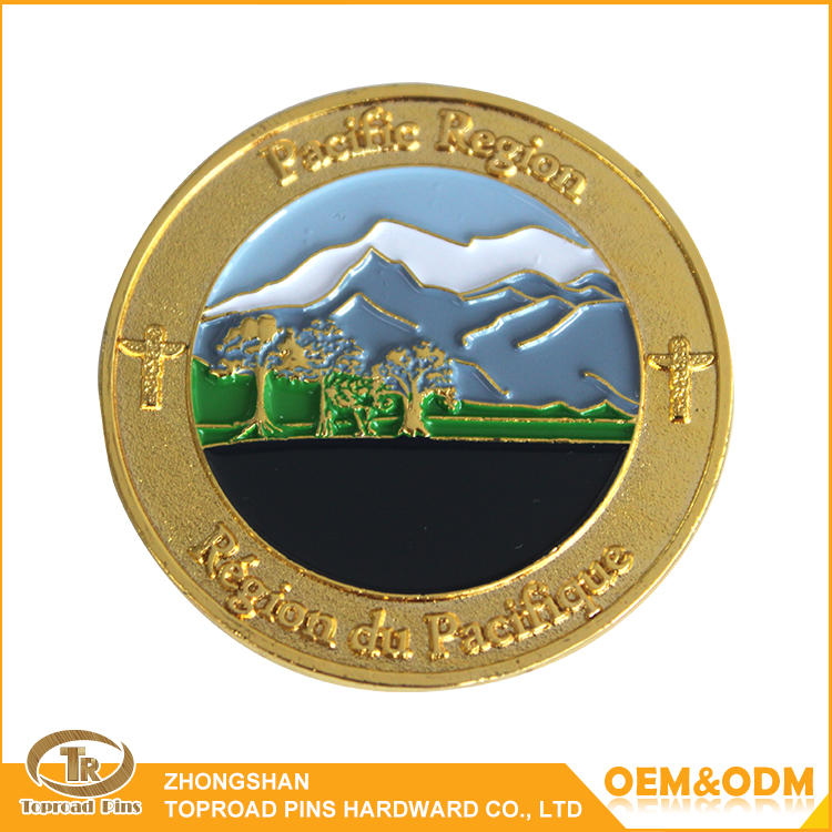 Manufacturer high quality gold plated custom pacific region souvenir coin challenge coin