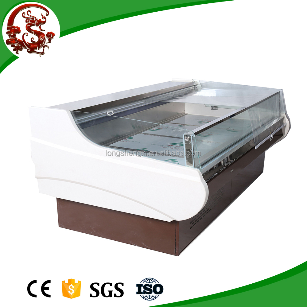 Supermarket open fresh meat display chiller self serve display counter/refrigerated display case