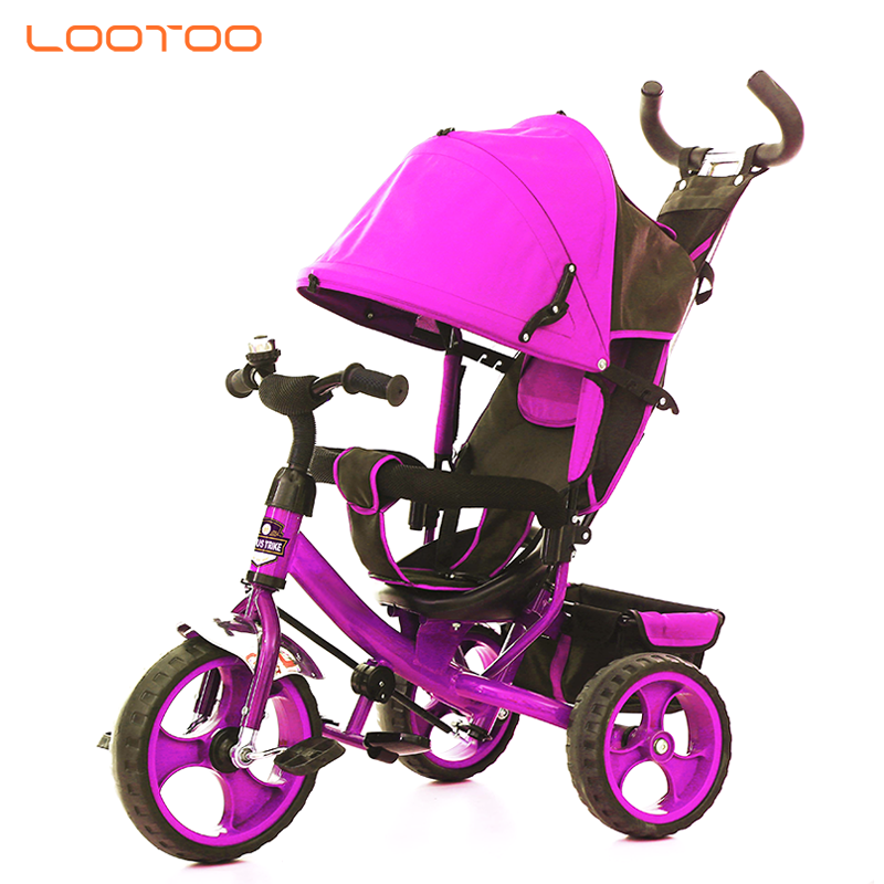 Premium smart one big front wheel children tricycle baby kid trike 3 wheel bike with handle for sale