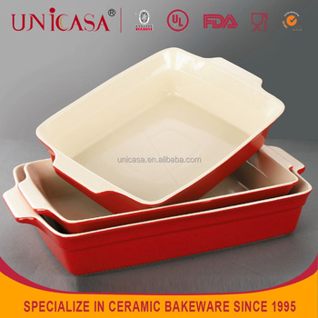 Unicasa Rectangular Shape Microwave Ceramic Bread Baking Pan With Handle