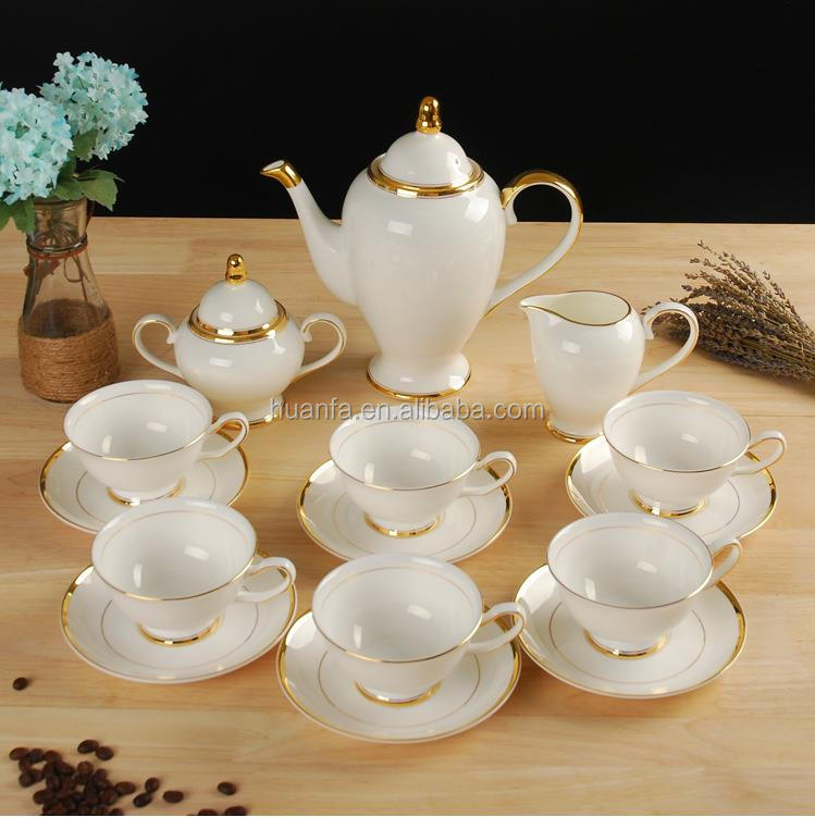 High quality 15 pcs European style Luxury ceramic tea pot set with sugar bowl and tea cup saucer