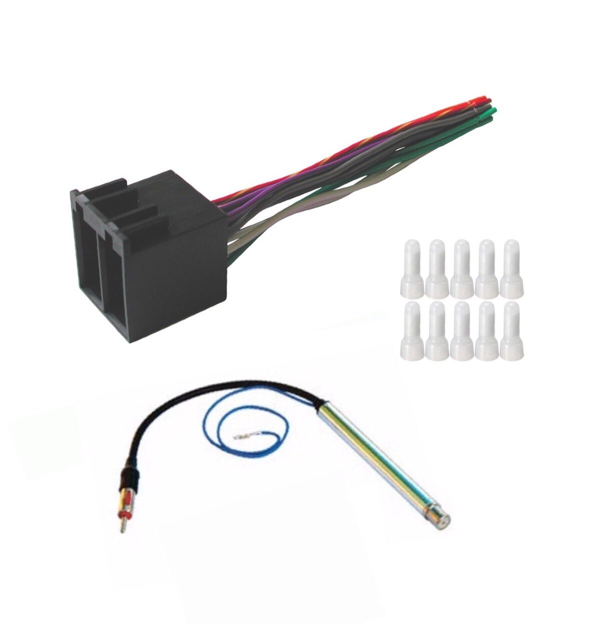 Get Quotations · ASC Audio Car Stereo Radio Wire Harness and Amplified  Antenna Adapter to Install an Aftermarket Radio