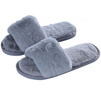 Women's Plush Soft Open Toe House Clog Slippers Spa Slide Slipper Indoor Shoes
