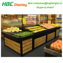 pinewood vege rack for hypermarket/fruit display stand for supermarket