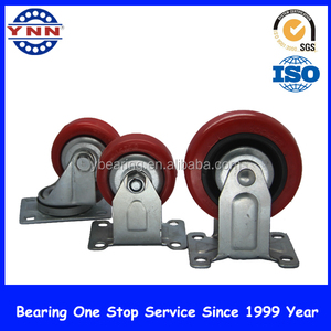 Heavy duty swivel and fixed duty with pu trolley wheel industrial caster