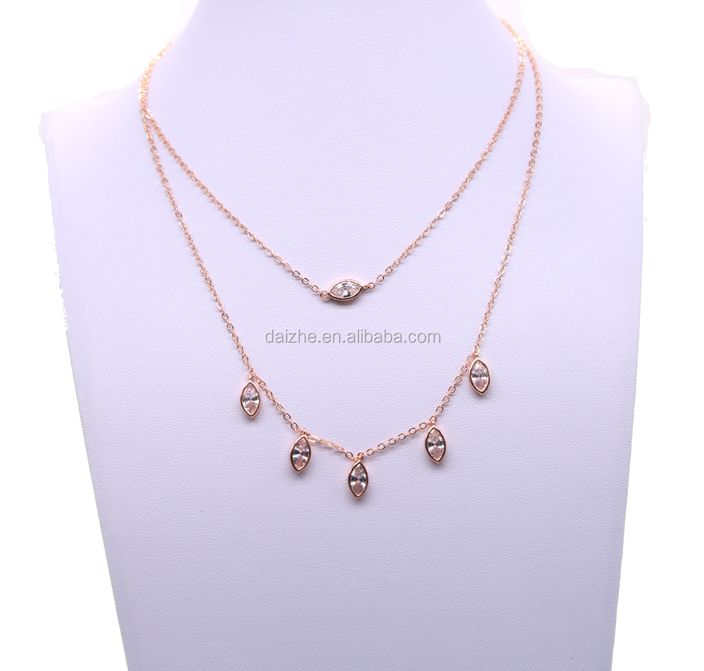 New fashion women wedding Y shape neckalce with rose gold plated drop charm layer necklace wholesale
