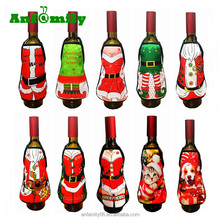 Merry Christmas Santa Wine Bottle Mini Apron Cover Dinner Table Home Party Decor