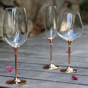 a7bc55b436c Unique toasting wine glasses set metal stem stand champagne flutes rose gold  plating with rhinestones