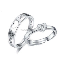 YFY1158 Yiwu Huilin Jewelry Sweet Love Silver Endless Love Heart to Heart Couple Engagement Rings