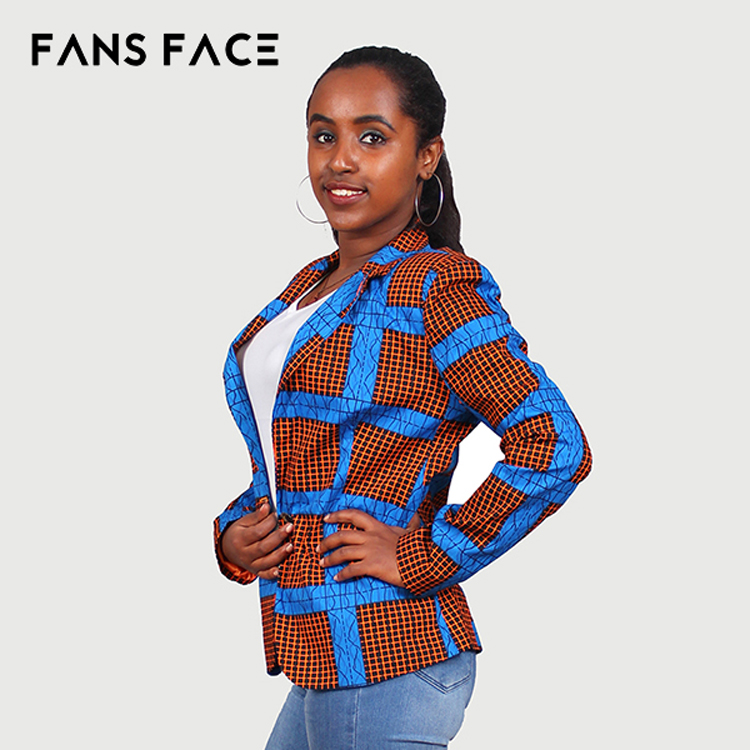 Brown and Blue African Kitenge Design Suit for Women