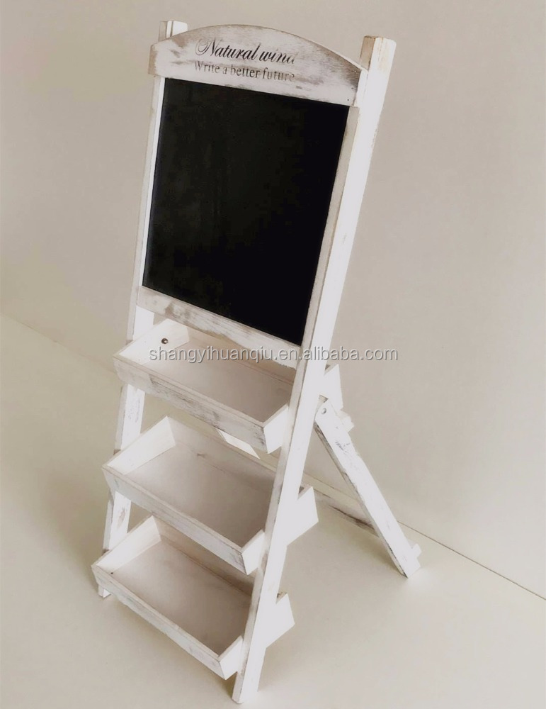 rustic folding white multifunction chalkboard with wooden box