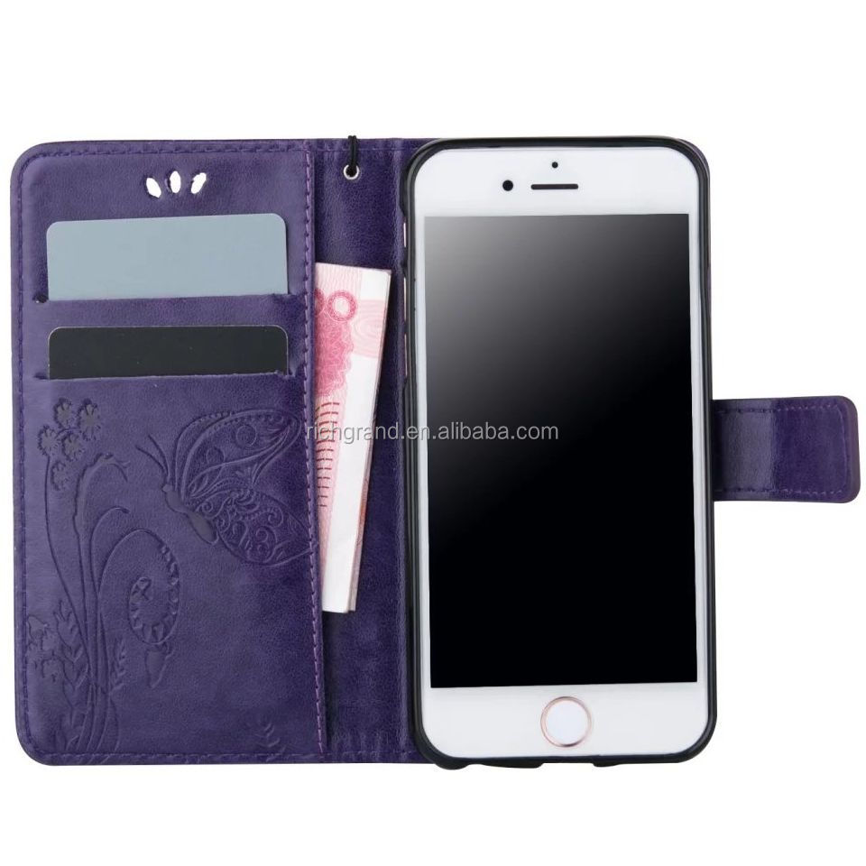 Purple PU Leather Flip Stand Card Slot Wallet Case Cover Skin for iphone for LG