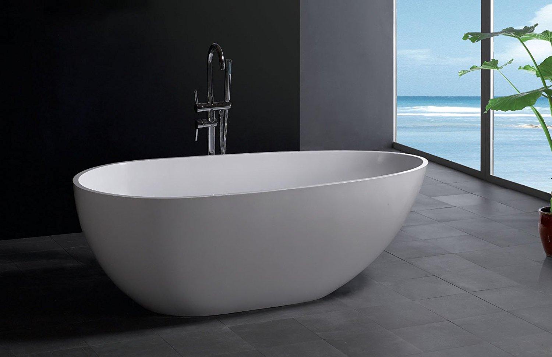"""Modern Bathtub - Soaking Bathtub - Freestanding Bathtub - Solid Surface Bathtub - Cast Stone Bathtub - Dazio 73"""""""