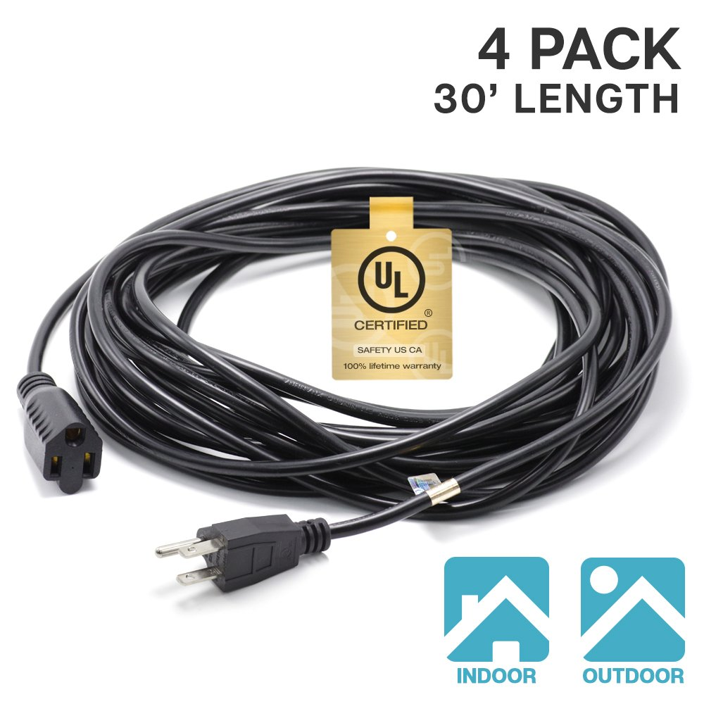 eTopLighting  4-Pack 3 Prong 30ft Power Extension Cord Cable Extender Outlet Saver, 18AWG [0.824mm²] 300V UL Listed, Indoor/Outdoor, APL1748