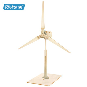 Robotime solar energy toy solar toys power windmill W100 DIY 3D wooden puzzle gift