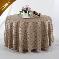 Made in China polyester damask fabric jacquard round table cloths for wedding party