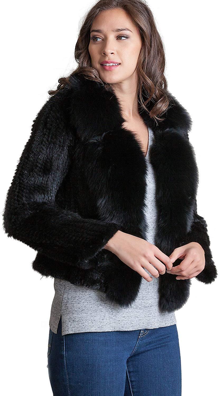 Overland Sheepskin Co Annabelle Danish Knitted Mink Fur Jacket with Fox Fur Trim
