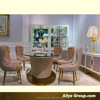 Luxury Furniture Italian Style Round Solid Wood Dining Table Set Of Italy Top Brand