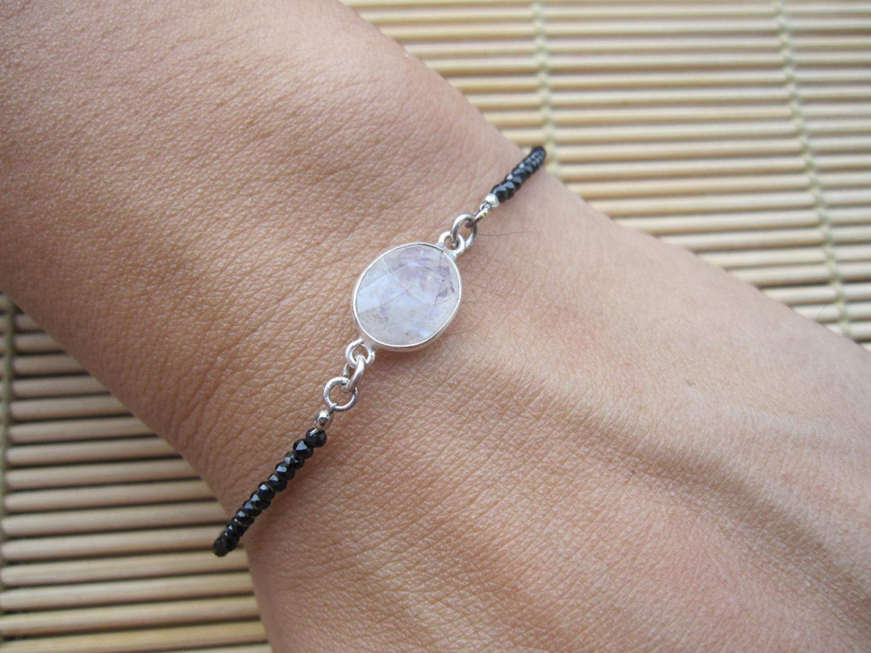Moonstone bracelet,Black spinel bracelet,Karen Hill Tribe Silver toggle clasp,Gemstone bracelet,beaded bracelet,Handmade Bracelet,Moonstone Jewelry,Minimalist bracelet - size 6.5,7,7.5,8,8.5 inches