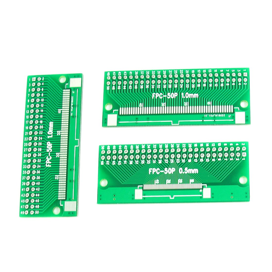 "Uxcell a14060600ux0536 3 Piece 65 mm x 26 mm 2 Sides 0.5 mm 1 mm to 2.54 mm Pitch DIP50 PCB Adapter, 1.02"" Width, 2.56"" Length"
