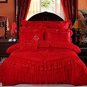 LELVA Luxury Lace Princess Bedding Red Wedding Bedding Princess Bedding Korean Designer, Girl Red Ruffle Bedding Set 4pcs / 6pcs / 8pcs / 10pcs Queen / King Size (3(8pcs), Queen)
