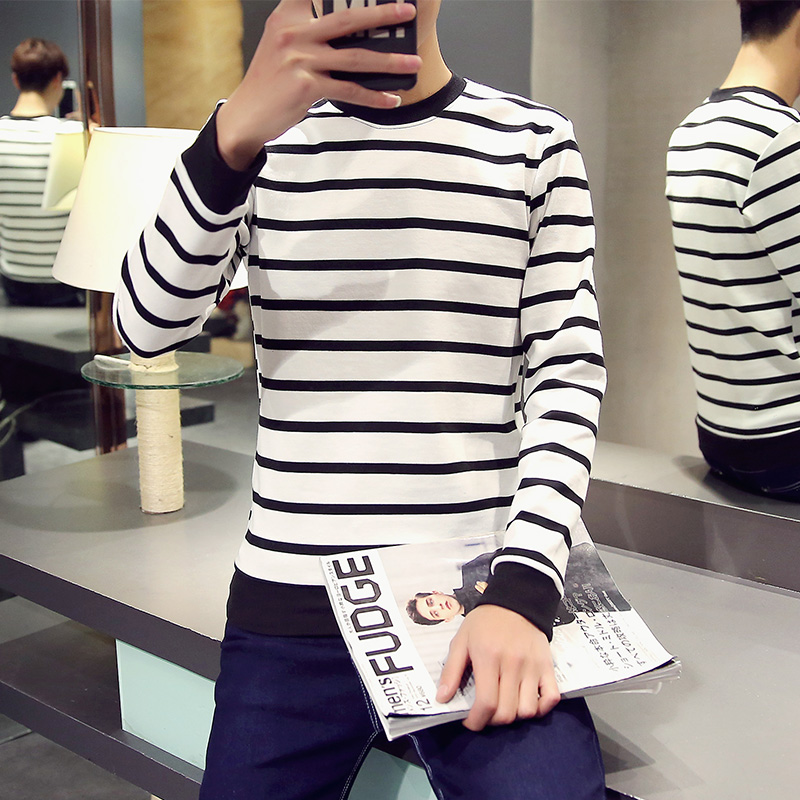 Mens Black And White Striped Long Sleeve T Shirt Achat En Ligne